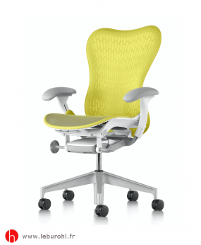 Fauteuil Mirra Lime Green Piètement H-Alloy White Accoudoirs Fog Herman Miller Le Buro HL 1