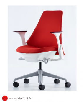 Fauteuil Sayl tissu Rouge Structure Fog Studio White Accoudoirs Herman Miller Le Buro HL