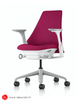 Fauteuil Sayl tissu Grenat Structure Fog Studio White Accoudoirs Fog Herman Miller Le Buro HL 1