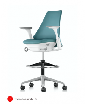 Fauteuil Stool Sayl tissu Vert Structure  Fog Studio White Accoudoirs Fog Herman Miller Le Buro HL 1
