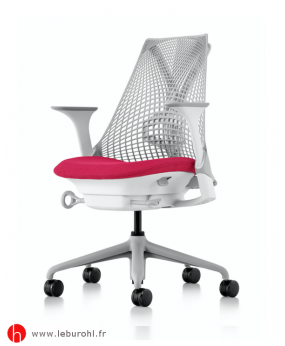Fauteuil Rouge Sayl Fog Studio white Accoudoirs Fog Support Lombaire Herman Miller Le Buro HL