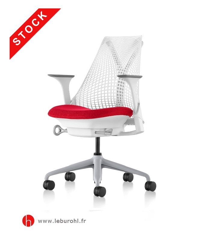 Sayl suspension blanc fog accoudoirs 4D assise rouge Herman Miller Le Buro HL 1