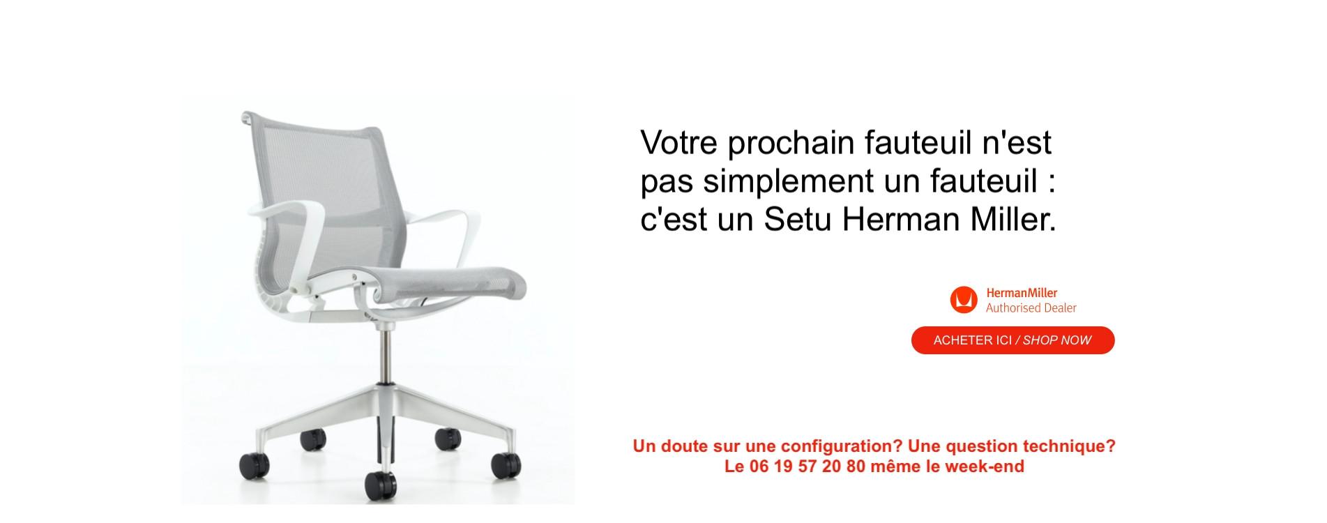 Votre prochain fauteuil est un Setu Herman Millerr